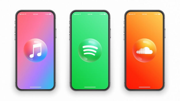 Muzyka aplikacji 3d logo, okrągłe błyszczące ikony ustawione na ekranie smartfona. aplikacje mobilne i strony internetowe