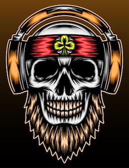 Muzyka czaszki ręcznie rysowane ilustracja projekt