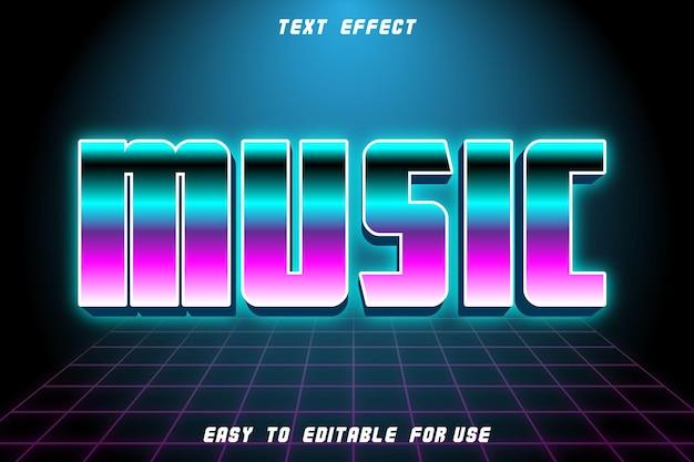Muzyka edytowalny efekt tekstowy wytłoczony styl retro
