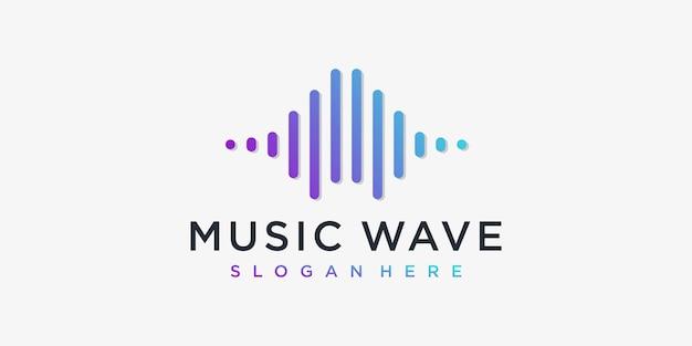 Muzyka fala projekt logo inspiracja fala muzyczna dźwięk nowoczesny fajny głośność premium wektorów