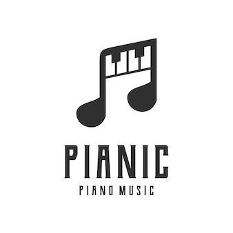 Muzyka fortepianowa sylwetka projekt logo vintage retro znaczek