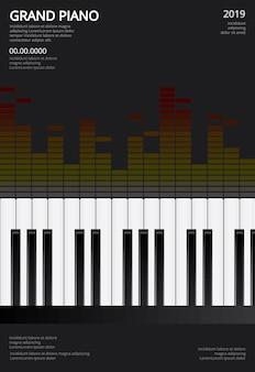 Muzyka grand piano plakat tło szablonu ilustracji wektorowych