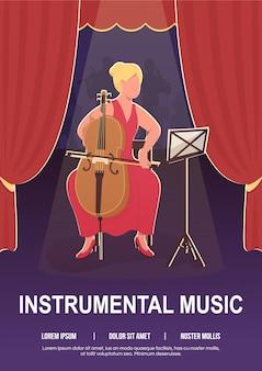 Muzyka instrumentalna plakat płaski szablon. tworzenie melodii z orkiestrą.