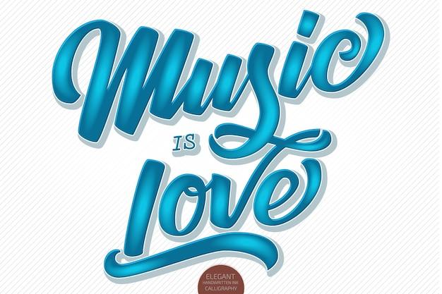 Muzyka jest miłością. wektor wolumetryczne ręcznie rysowane napis. 3d elegancki nowoczesny odręczny kaligrafia.
