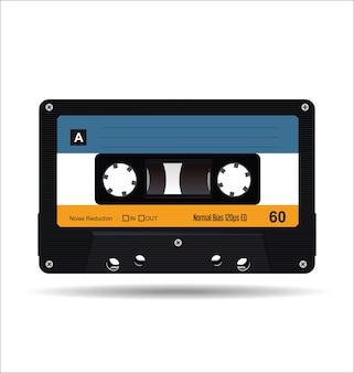 Muzyka kaseta magnetofonowa grafika wektorowa ilustracja na białym tle