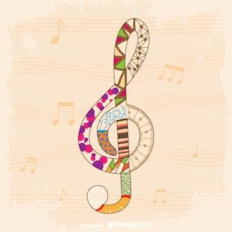 Muzyka klucz wiolinowy szablon wektora