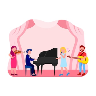 Muzyka koncert ilustracja płaski wektor