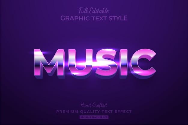 Muzyka lat 80-tych edytowalny efekt tekstu 3d w stylu retro