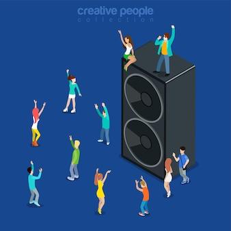 Muzyka na imprezę pokazuje płaski izometryczny
