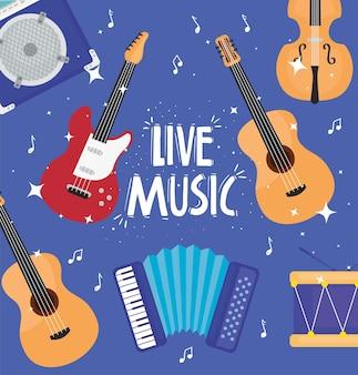 Muzyka na żywo napis z ilustracją wzoru instrumentów muzycznych
