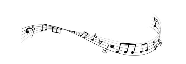 Muzyka notatki sylwetki. monochromatyczne streszczenie klasyczne melodie, piosenki lub audio na tle fali czarnej linii. wektor ikona ilustracja na białym tle