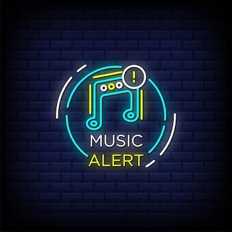 Muzyka ostrzega tekst w stylu neonów