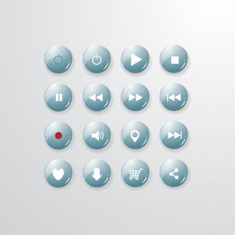 Muzyka przycisk zestaw okulary projekt wektor