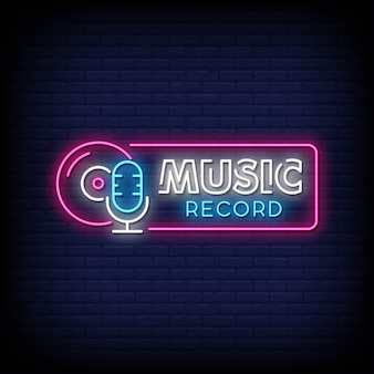 Muzyka record neon signs style text