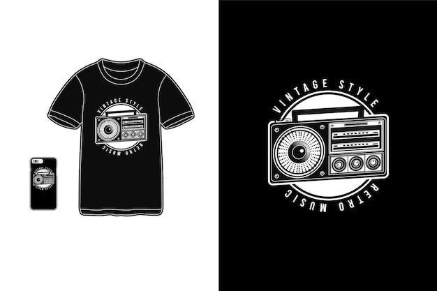 Muzyka retro w stylu vintage, typografia na koszulkach