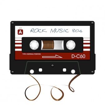 Muzyka rockowa. kaseta magnetofonowa. ilustracja.
