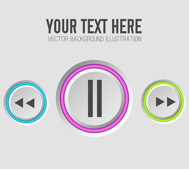 Muzyka sieci web przycisków zestaw szablonu
