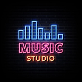 Muzyka studio neon signs style text