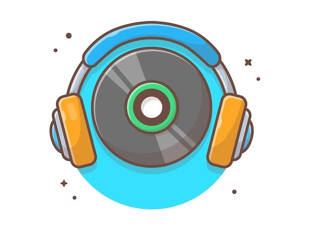 Muzyka vinyl z muzyką na słuchawkach. płyta winylowa muzyka vintage biały na białym tle