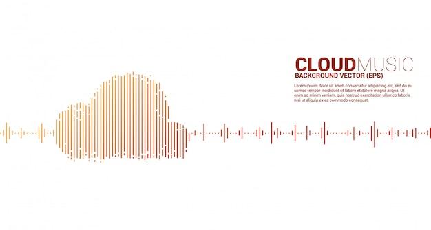 Muzyka w chmurze i koncepcja technologii dźwięku. fala korektora w kształcie chmury