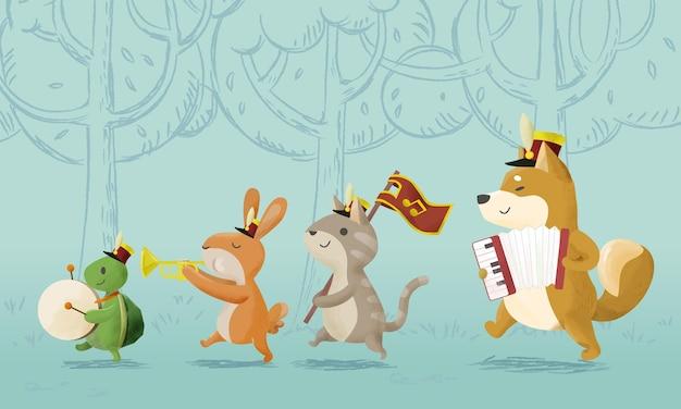 Muzyka ze zwierzętami muzyków grających na instrumentach muzycznych. ilustracja wektorowa.
