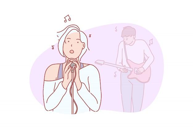 Muzyka, zespół, śpiewająca ilustracja