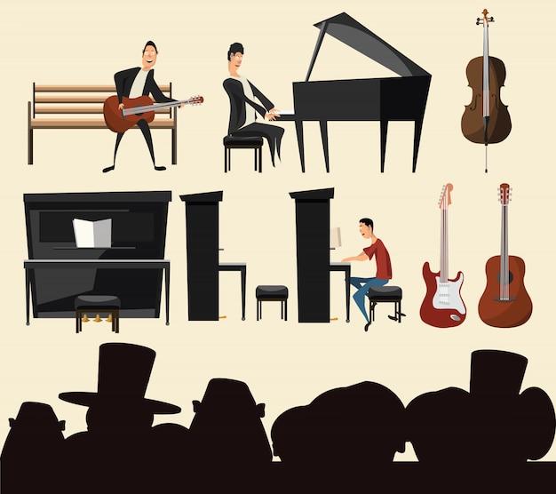 Muzyka zestaw ilustracji wektorowych