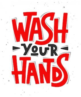 Myć dłonie. ilustracja literowanie