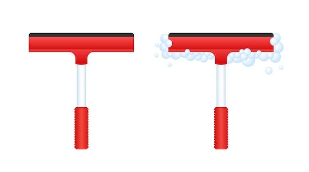 Mycie okien w nowoczesnym stylu. skrobaczka do szkła ślizga się po szkle. czyszczenie i konserwacja.