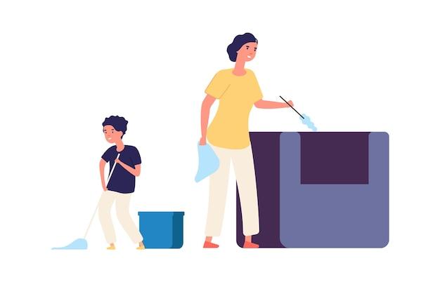 Mycie podłogi. usuń kurz, sprzątanie w domu. rodzina spędza razem czas