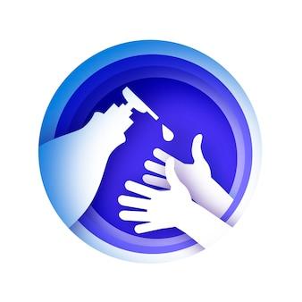 Mycie rąk. codzienna pielęgnacja ciała. umyj ręce w stylu wycinanym z papieru.