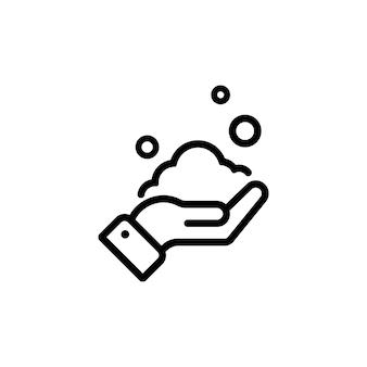 Mycie rąk ikoną mydła w kolorze czarnym. pojęcie opieki zdrowotnej. wektor na na białym tle. eps 10.