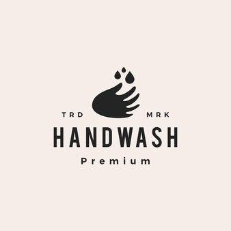 Mycie rąk kropla wody hipster vintage logo wektor ikona ilustracja