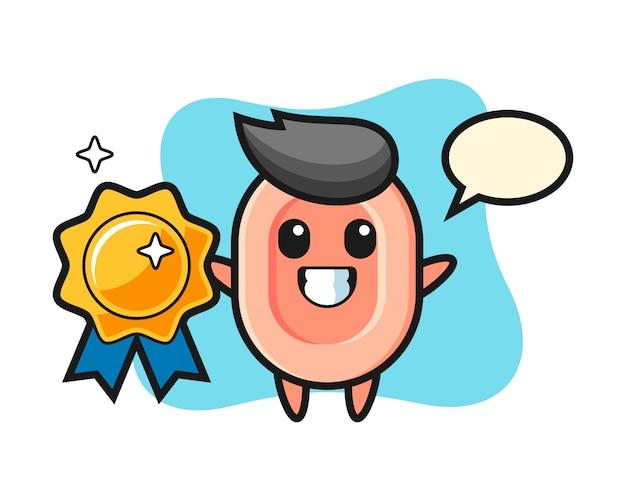 Mydlana maskotka ilustracja trzyma złotą odznakę, ładny styl na koszulkę, naklejkę, element logo