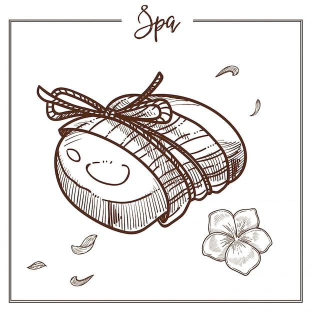 Mydło spa o zapachu kwiatowym owinięte liną