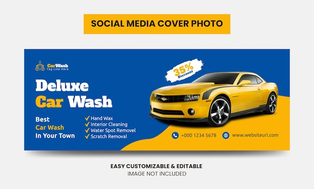 Myjnia Samochodowa Media Społecznościowe Szablon Zdjęcia Na Okładkę Na Facebooka Usługa Mycia Samochodu Okładka Do Mediów Społecznościowych Premium Wektorów