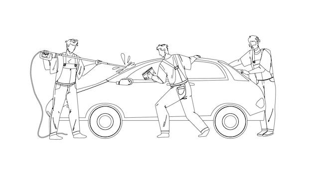 Myjnia samochodowa pracowników usług mycia samochodów czarna linia rysunek ołówkiem wektor. myjnia samochodowa człowiek ze sprzętem spryskiwanie wodą, czyszczenie i wycieranie okien szmatą. postacie biznes ilustracja