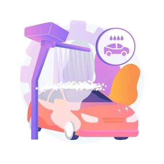 Myjnia samochodowa streszczenie koncepcja ilustracja