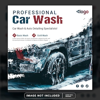 Myjnia samochodowa usługa mycia w mediach społecznościowych szablon postu na instagramie lub kwadratowa ulotka