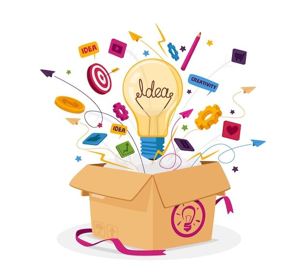 Myśl nieszablonowo koncepcja biznesowa. otwórz opakowanie kartonowe z żarówką, ikonami papeterii i wylatującymi materiałami biurowymi