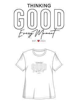 Myśląca dobra typografia do koszulki z nadrukiem