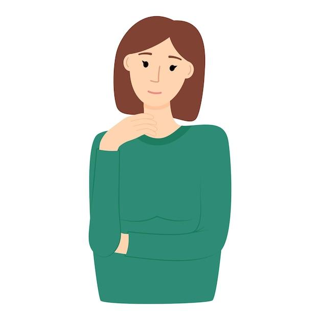 Myśląca dziewczyna na białym tle, portret ładna kobieta, ilustracji wektorowych