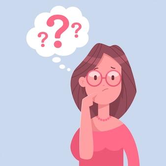 Myśląca postać kobiety biznesu. ilustracja kreskówka kobiety ze znakiem zapytania na białym tle.