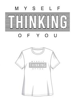 Myśląca typografia do koszulki z nadrukiem