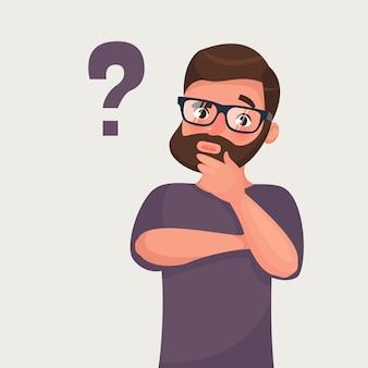 Myślący broda modnisia biznesmen z znakiem zapytania