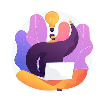 Myśleć poza szablonowo. kreatywne rozwiązanie, inspirujący plan, pomysł na kreatywność. człowiek pracujący z laptopem postać z kreskówki. myśl inaczej. ilustracja wektorowa na białym tle koncepcja metafora