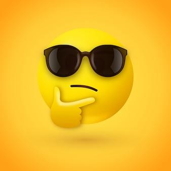 Myślenie emoji z okularami przeciwsłonecznymi