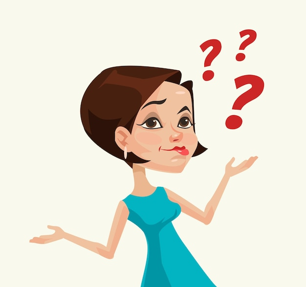 Myślenie, kobieta, postać, wektor, płaski, rysunek, ilustracja