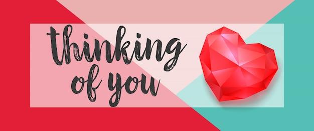 Myślenie o tobie literowanie z rubinowym sercem