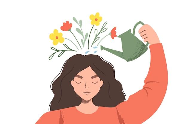 Myślenie pozytywne jako nastawienie. kobieta podlewa rośliny, które symbolizują szczęśliwe myśli. płaska ilustracja